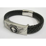braided leather bracelet man skull