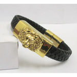 braided leather bracelet lion head