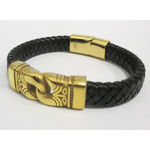 braided leather bracelet in gold