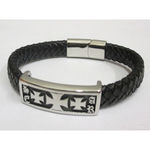 leather cross biker bracelet