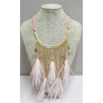 necklace chain mid long feathers