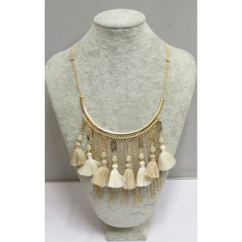 Half moon necklace with ecru pompoms fringe