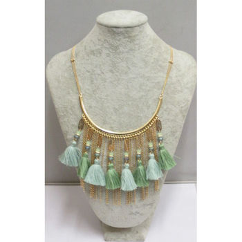 Half moon pompom fringe necklace