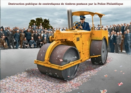 Carte postale - n° 430 - Destruction publique de contrefaçons de timbres postaux par la Police philatélique