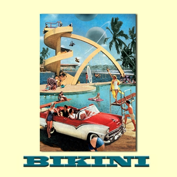 Carte postale BIKINI - Pool party - Le plongeoir
