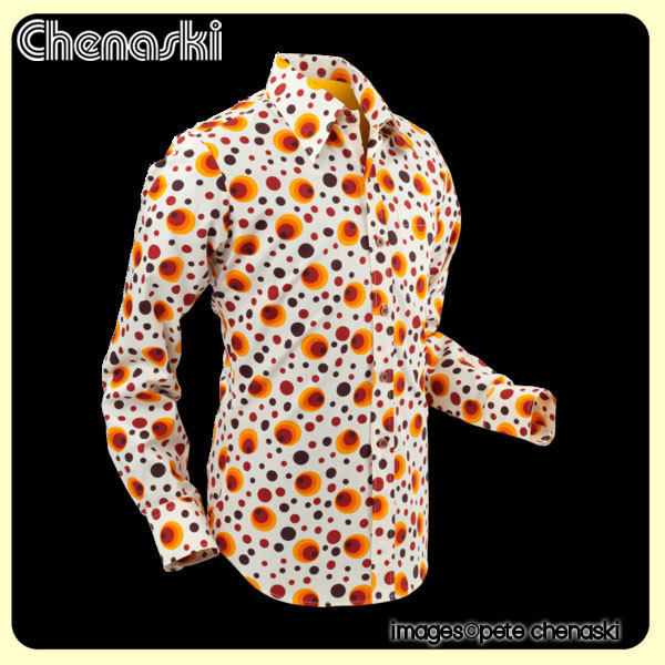 "Chemise motif Peacock ""Dots & Spots"" Orange"