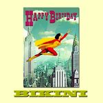 "Carte postale BIKINI - Supergirl ""Happy Birthday"""