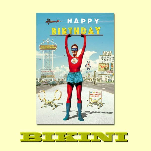 "Carte postale BIKINI - Captain Ridiculous ""Happy Birthday"""
