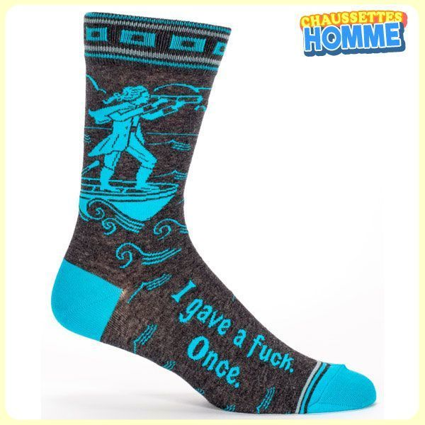 Chaussettes homme BlueQ - YO DUDE - I gave a fuck. Once.*