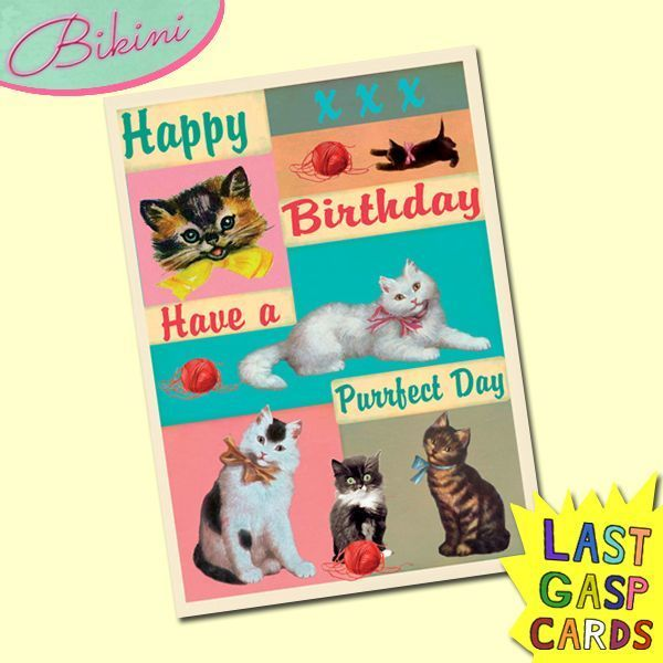 Carte postale dépliante Last Gasp n°04 - Happy Birthday - Have a purrfect day !