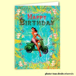 Carte postale dépliante TRÈS CHIC - Happy Birthday Scooter Girl