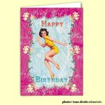 Carte postale dépliante TRÈS CHIC - Happy Birthday Party Girl