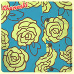 Chemisette coton - Motif ROSES outlined Turquoise/Jaune