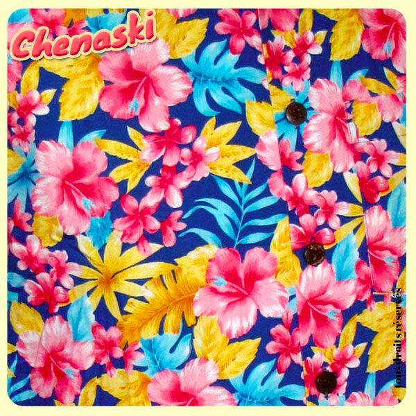 Chemisette coton - Motif SUPER BRIGHT FLOWERS bleu