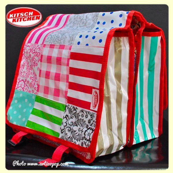 Paire de grandes sacoches pour bicyclette Kitsch Kitchen - Modèle Patchwork GG