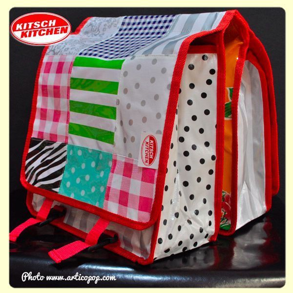Paire de grandes sacoches pour bicyclette Kitsch Kitchen - Modèle Patchwork JJ
