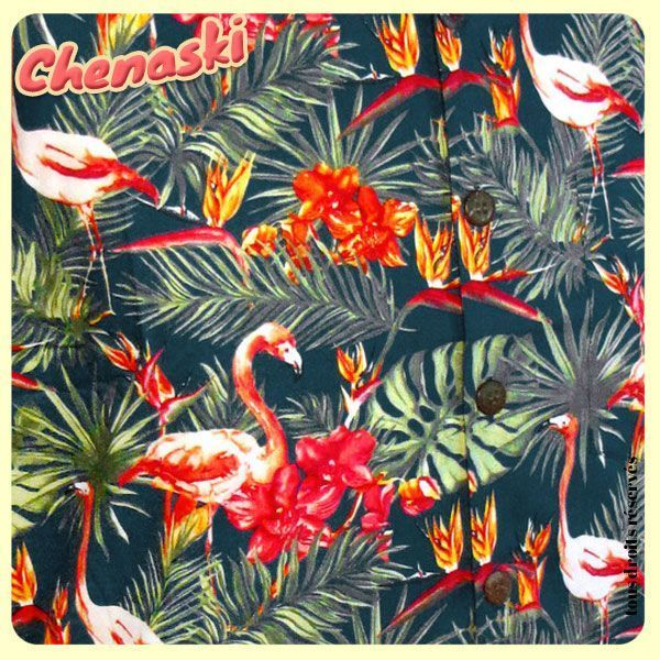 Chemisette coton - Motif FLAMINGOES Fond pétrole
