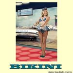 Carte postale BIKINI - Mile High Airlines Stewardess