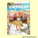 Carte postale dépliante BIKINI - Happy Birthday - Hula Hop Girl