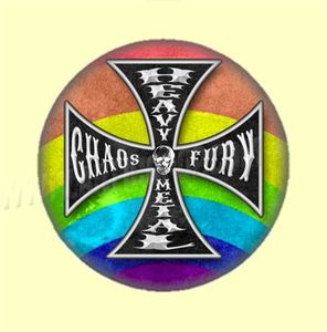 Badge ou Aimant - Heavy Metal - Chaos & Fury - Coloris Arc-en-ciel