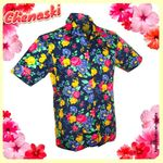 Chemisette coton - Motif SUPER BRIGHT FLOWERS Navy