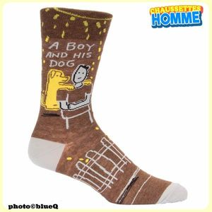 "Chaussettes homme BlueQ - ""A BOY and his DOG*"""
