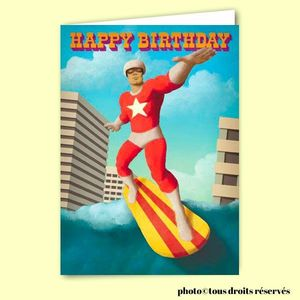 Carte postale dépliante - Happy Birthday Surfer Boy