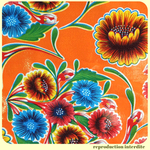 Coupon de toile cirée mexicaine DULCE FLOR orange 95 x 120 cm