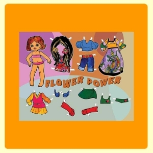 "Carte postale 10 x 15 - Paperdoll ""Flower Power"""