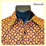 "Chemise motif DOTSGRID Marron/Orange ""Fuego !"""