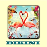 Sous-bock BIKINI - Couple de flamants roses