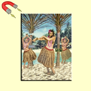 Magnet rectangulaire 9 x 6,5 cm - HULA GIRL