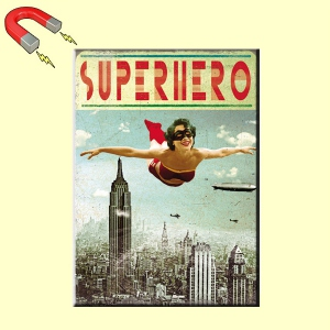 Magnet rectangulaire 9 x 6,5 cm - SUPERHERO girl