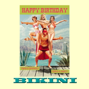 "Carte postale BIKINI - Happy Birthday ""Two' s a company, four's a party*"""