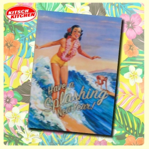 "Carte postale 10 x15 - SURFER GIRL ""Have a splashing new year"""