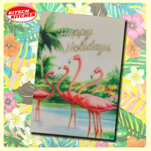 "Carte postale 10 x15 - FLAMINGOES ""Happy Holidays"""