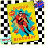 Carte postale dépliante ZAP n°01 - Happy Birthday SUPERHERO
