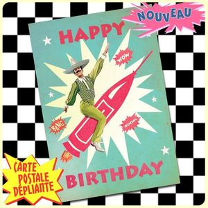 Carte postale dépliante ZAP n°02 - Happy Birthday MEXICAN ROCK