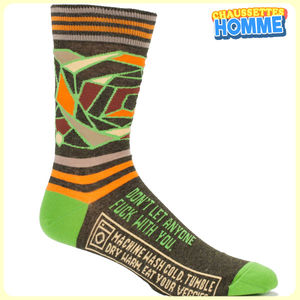 Chaussettes homme BlueQ - YO DUDE - Don't let anyone fuck with you*