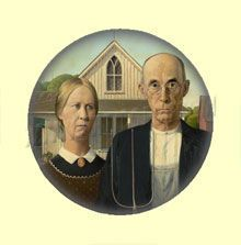 Badge ou Aimant - Grant Wood - American Gothic