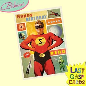 Carte postale dépliante Last Gasp n°01 - Happy Birthday - Super Hero