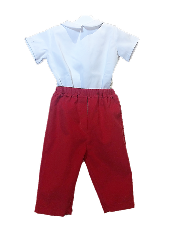 Pantalon Michel velours milleraie rouge