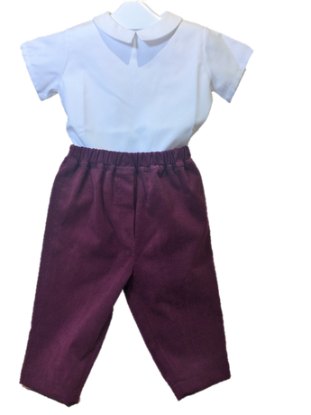 Pantalon Michel velours milleraie bordeaux