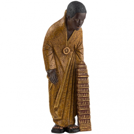 Mage africain Melchior - Robe Ocre - dolomie - 39cm
