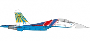Russian Knights Aerobatic Demonstration Team Sukhoi SU-27UB (Flanker C) 237TSPAT – 237th Aviation Technology Demonstration Center (237TSPAT) - 23 blue