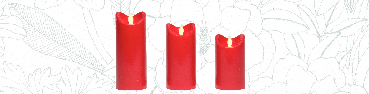 Bougies LED Rouge - flamme vacillante/oscillante