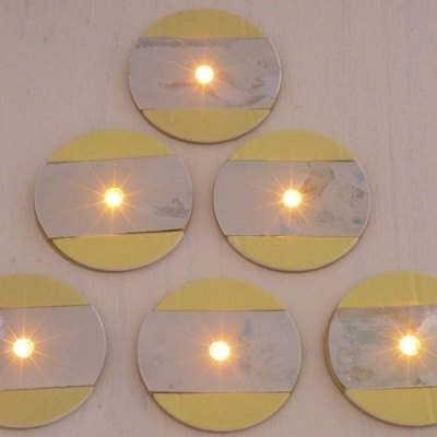 6 Stickers led VERRE - coloris or