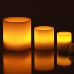 3 small LED pillar candles in ivory wax