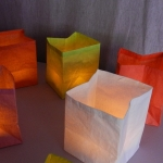 3 handcrafted white paper tea light holders -  3 LED tea lights included