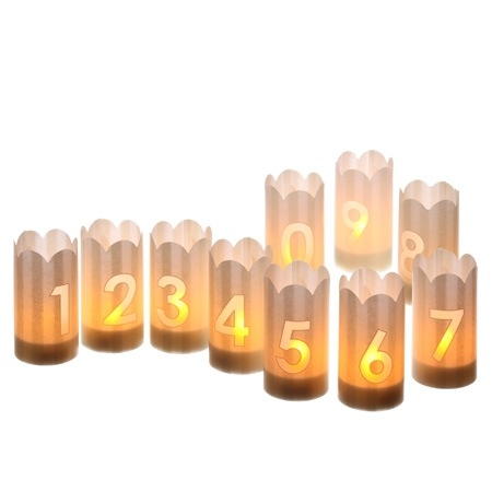 LED candle holders - 3 figures - H 10,5 cm